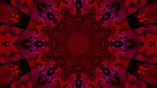 Fundo visual brilhante da arte abstrata com ilustração 3d com padrão de flores geométricas em caleidoscópio de cor vermelha e luzes piscando