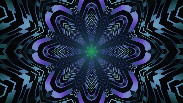 Fundo visual da arte abstrata 4k uhd ilustração 3d com ornamento de néon em forma de flor repetitiva formando uma perspectiva de túnel futurista sem fim com reflexos de luz
