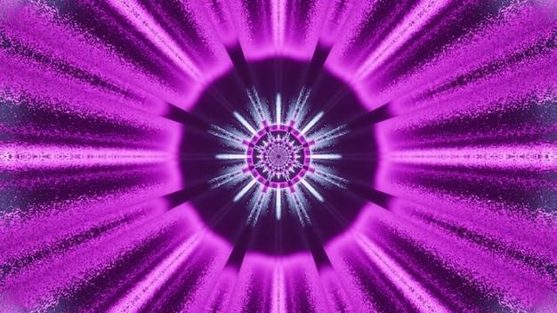 Fundo visual da arte abstrata criativa 4k uhd ilustração 3d com centro redondo e raios de néon roxos brilhantes formando o efeito de perspectiva do fantástico túnel espacial