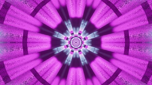 Fundo visual de arte abstrata vívida com ornamento geométrico circular e raios de néon roxos brilhantes formando um túnel futurístico de ficção científica na ilustração 4k uhd 3d