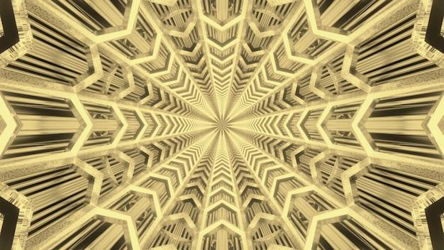 Fundo visual futurista abstrato com ornamento dourado simétrico cintilante dentro de uma passagem circular sem fim