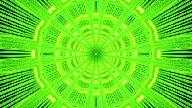 Fundo visual vibrante de arte abstrata de túnel virtual sem fim com forma circular geométrica simétrica
