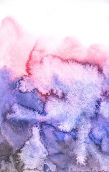 Fundos azuis e vermelhos abstratos da aguarela, pintura da mão no papel.