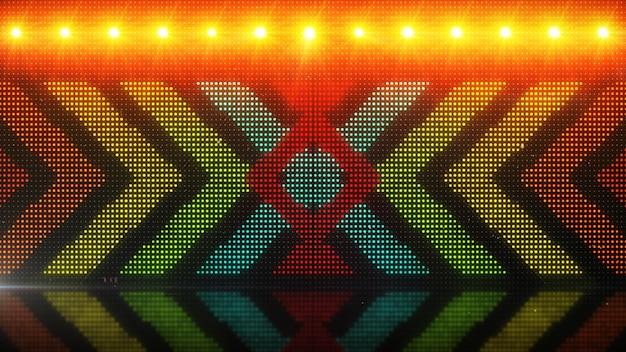 Fundos de movimento cgi de alta definição, ideais para edição, cenários de led ou transmissão de setas brilhantes sobre uma ilustração 3d do painel de led simulado