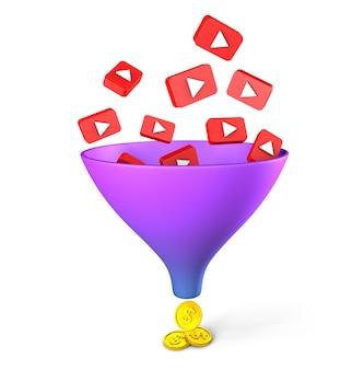 Funil de vendas do youtube exibições de vídeo geram dinheiro isolado no fundo branco renderização 3d