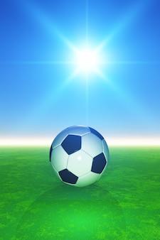 Futebol 3D no pitcch gramíneo contra o céu azul ensolarado