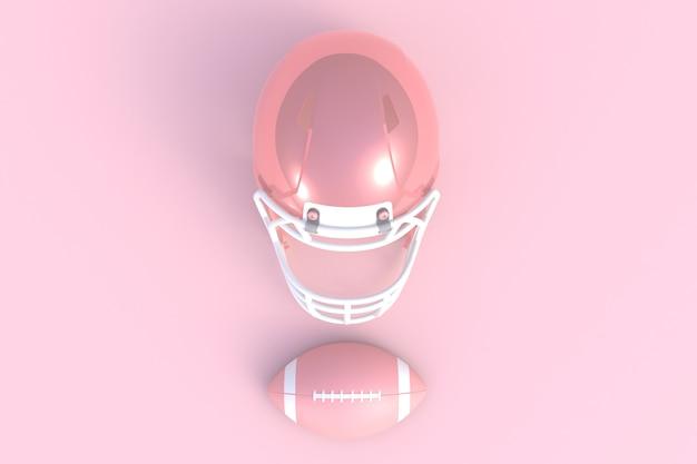 Futebol americano abstrato mínimo fundo rosa, renderização em 3d