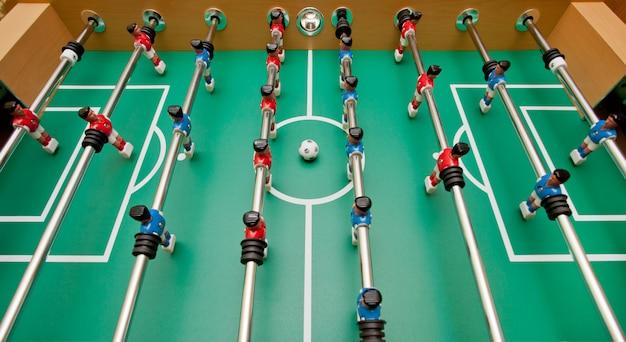 Futebol de mesa, vista superior.