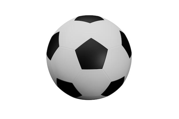 Futebol isolado no fundo branco com traçado de recorte, equipamento esportivo socker na tela branca, renderização de ilustração 3d