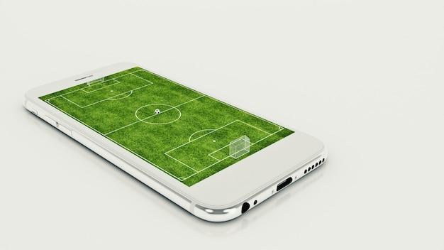 Futebol móvel campo de futebol na tela e bola do smartphone conceito de venda de ingressos online