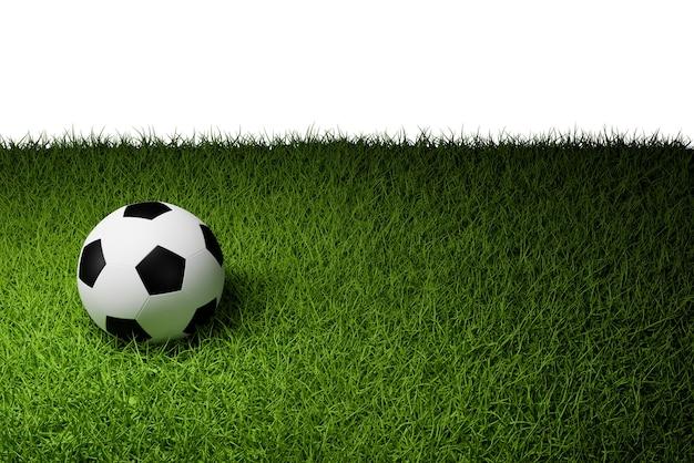 Futebol na grama, renderização de ilustração 3d