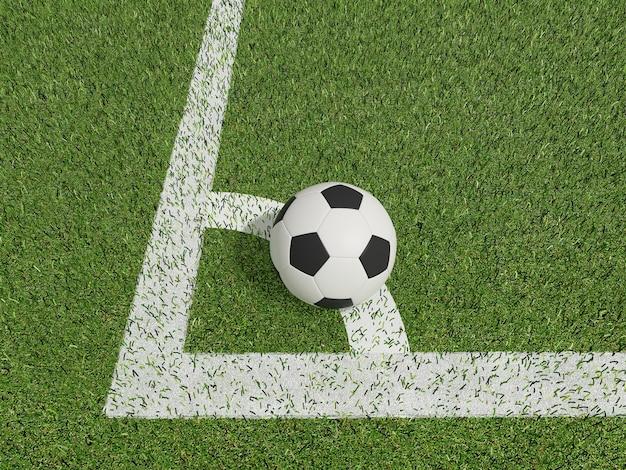Futebol ou futebol no campo de grama verde na conner