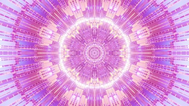 Futurista 4k uhd ilustração 3d design de fundo visual abstrato com ornamento fractal geométrico simétrico em tons de néon rosa e roxo