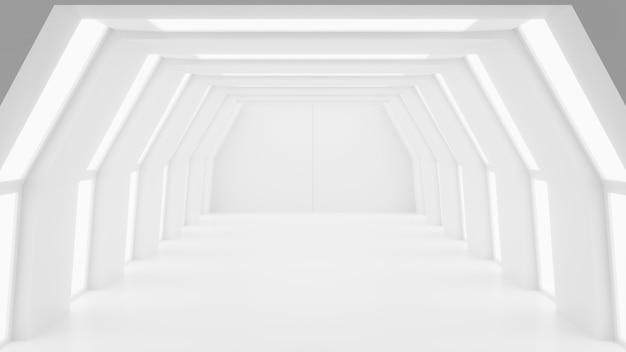Futurista mock up cena abstrato branco futurista scifi design de interiores renderização 3d ilustração 3d