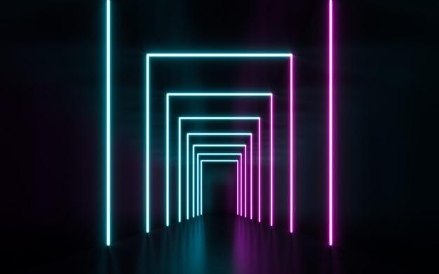 Futurista sci fi azul e roxo luzes tubo de néon brilhando. renderização em 3d