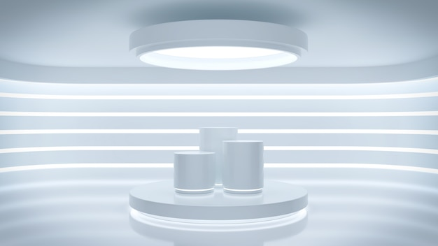 Futuristic abstrata interior e display show no quarto moderno