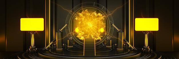 Futuristic sci fi modern empty big hall luz escura do portal do espaço-tempo