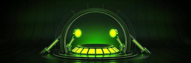 Futuristic sci fi moderno vazio grande hall dark alien garage sci fi renderização 3d