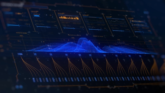 Futuristic ui hud display tela analítica com detectores de sensores e barras