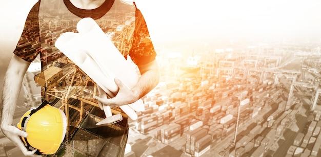Futuro conceito de projeto de engenharia de construção civil com design gráfico de dupla exposição. engenheiro civil, arquiteto ou trabalhador da construção civil que trabalha com tecnologia de equipamentos civis modernos.