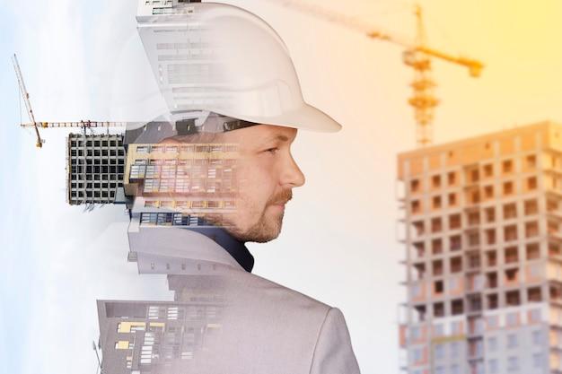 Futuro conceito de projeto de engenharia de construção civil com design gráfico de dupla exposição