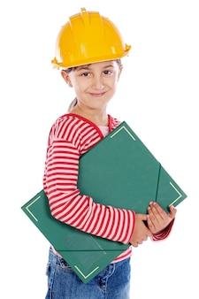 Futuro engenheiro menina um sobre fundo branco