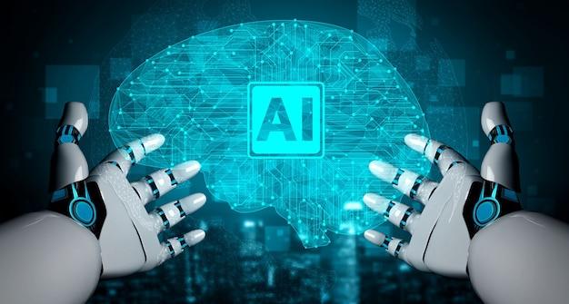 Futuro robô de inteligência artificial e ciborgue.