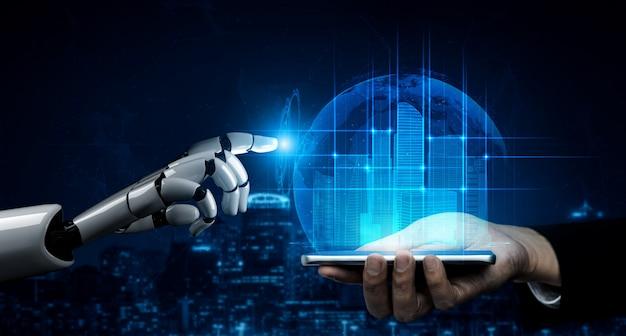 Futuro robô de inteligência artificial e cyborg