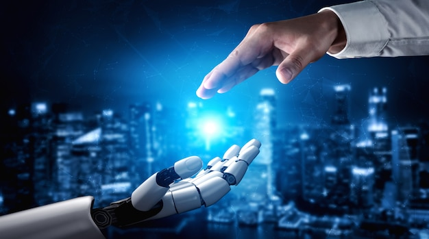Futuro robô de inteligência artificial e cyborg.