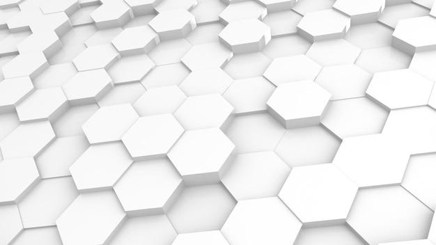 Futursitics 3d que renderiza fundo de nível de superfície aleatório de favo de mel abstrato branco com iluminação e sombra. ângulo de inclinaçao