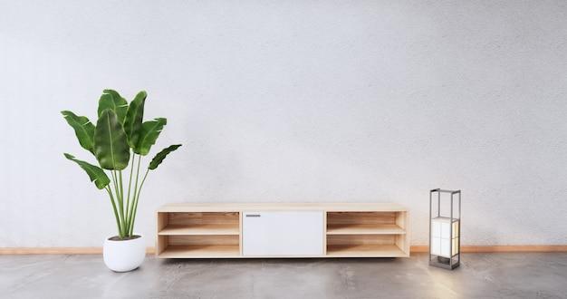 Gabinete com design de madeira na moderna sala japonesa. renderização 3d