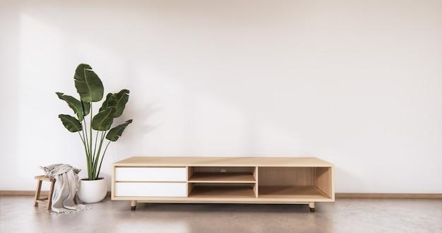 Gabinete de madeira com design japonês na parede vazia de estilo zen da sala de estar