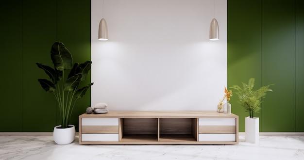 Gabinete em uma sala vazia moderna, design de parede verde em piso de granito, renderização em 3d