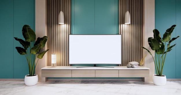 Gabinete em uma sala vazia moderna, parede de hortelã em piso de granito, renderização em 3d
