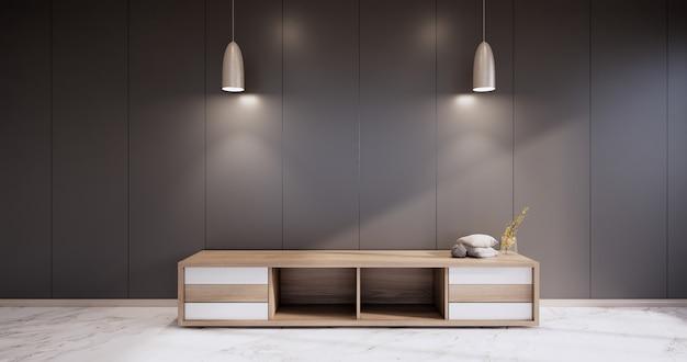 Gabinete em uma sala vazia moderna, parede preta em piso de granito, renderização em 3d