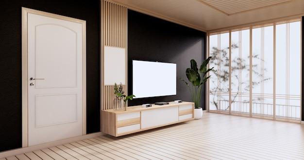 Gabinete em uma sala vazia moderna, parede preta no piso de madeira, renderização em 3d