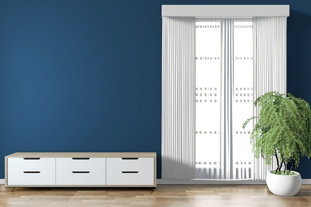 Gabinete mock up na sala azul escuro no piso design de madeira mínima. renderização 3d