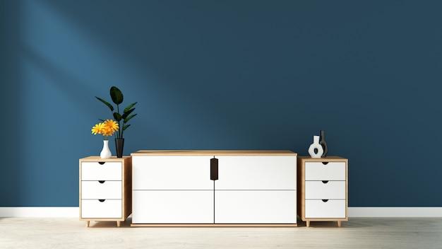 Gabinete na moderna sala vazia, parede azul escuro no piso de madeira, renderização em 3d