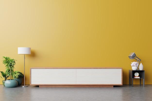 Gabinete para tv ou objeto de lugar na moderna sala de estar com lâmpada