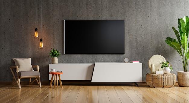 Gabinete uma parede de tv montada em uma sala de cimento com uma parede de madeira.