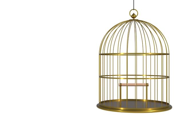 Gaiola dourada do pássaro vazio isolada no fundo branco, rendição 3d
