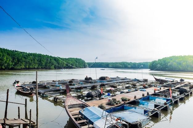 Gaiolas grandes para a piscicultura em tailândia pesca de peixes no sul de tailândia.