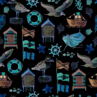 Gaivota do mar, pássaros, navio, bandeiras, casas, litoral, volante, cruzeiro