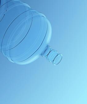 Galão de água com fundo azul. renderização 3d