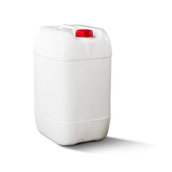 Galão de plástico branco isolado no branco