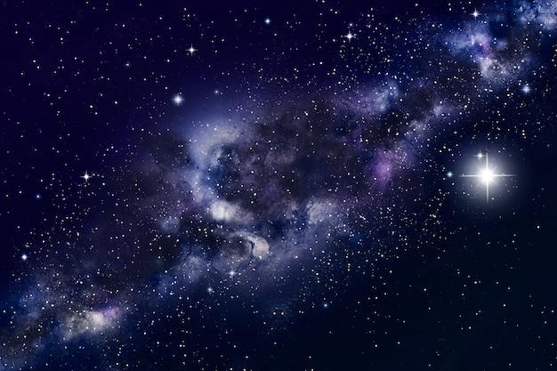 Galáxia e nebulosa no fundo do espaço com estrelas e planetas. ilustração.