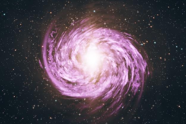 Galáxia espiral rotativa com estrelas na ilustração 3d do espaço sideral