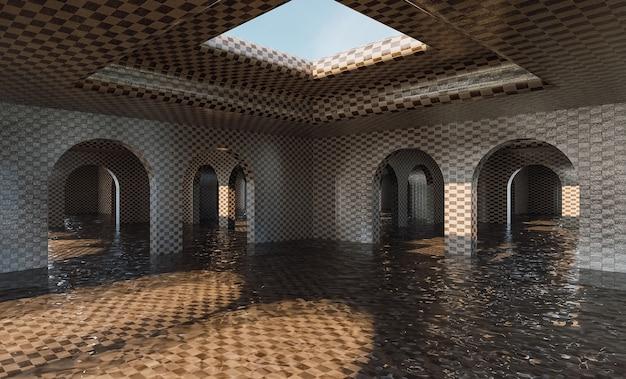 Galeria de arcos inundada com textura de azulejo e buraco no teto