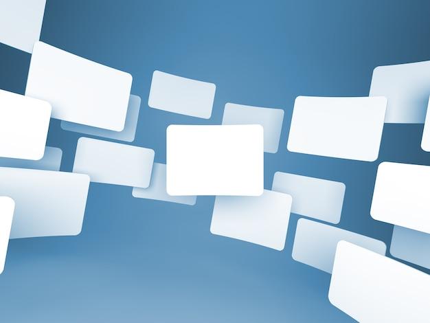 Galeria de imagens em branco sobre fundo azul.
