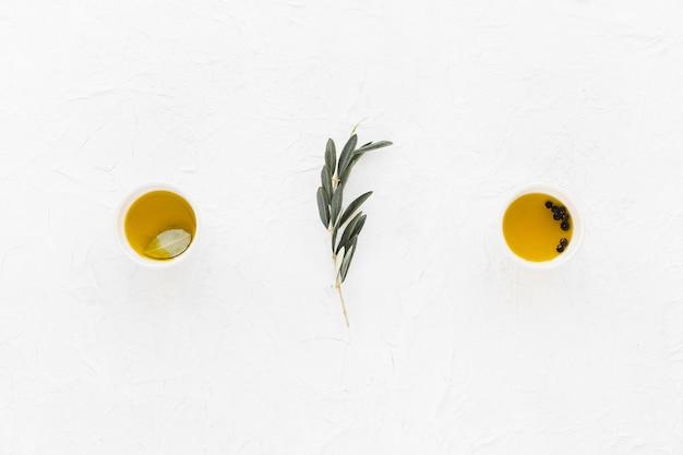 Galho de oliveira com pimenta preta e azeite nas tigelas